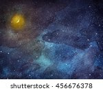 night sky with stars and moon.... | Shutterstock . vector #456676378