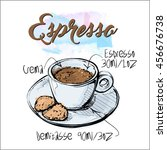hand draw of coffee cup. vector ... | Shutterstock .eps vector #456676738