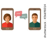 online chat man and woman.... | Shutterstock .eps vector #456698314