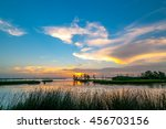 A colorful sunset of yellow, orange and blues in the Louisiana swamps along the Mississippi River with clouds in the blue sky and reeds in the foreground.
