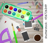 artist and designer desk.... | Shutterstock . vector #456726349