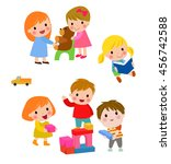 children play with toys in the... | Shutterstock .eps vector #456742588