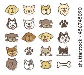 Stock vector different types of dogs icon set color on white background 456745090