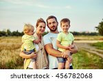 happy young family together... | Shutterstock . vector #456782068