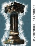 Small photo of Ionic column on white background. Vintage painting, background illustration, beautiful picture, adstract texture