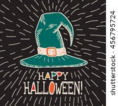 halloween card with hand drawn... | Shutterstock .eps vector #456795724