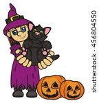 witch holds in the hands of a... | Shutterstock . vector #456804550