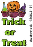 words trick or treat and three... | Shutterstock . vector #456819484