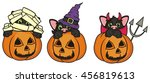three cat in different outfits... | Shutterstock . vector #456819613