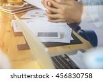 business team working on laptop ... | Shutterstock . vector #456830758