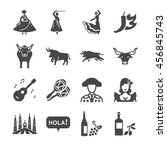 spain icons set. included the... | Shutterstock .eps vector #456845743