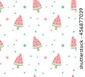 cute watermelon bitten ice...   Shutterstock .eps vector #456877039