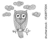 decorative owl with cloud.... | Shutterstock .eps vector #456897004