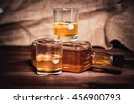 bourbon whiskey rum in a glass... | Shutterstock . vector #456900793