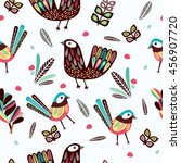 seamless pattern with tribal... | Shutterstock .eps vector #456907720