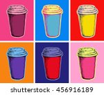 set coffee cup illustration pop ... | Shutterstock . vector #456916189