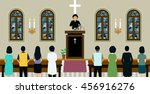 pastor was preaching in church... | Shutterstock .eps vector #456916276