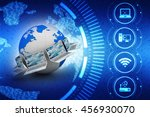 3d rendering computer network | Shutterstock . vector #456930070