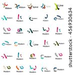 set of abstract ribbon logo... | Shutterstock . vector #456930634