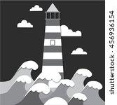 flat illustration lighthouse | Shutterstock .eps vector #456936154