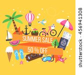 summer sale banner design with... | Shutterstock .eps vector #456941308