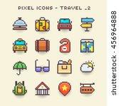 pixel icons travel 2 | Shutterstock .eps vector #456964888