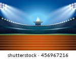 athletics stadium with track at ... | Shutterstock .eps vector #456967216