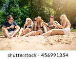 group of friends on the beach | Shutterstock . vector #456991354