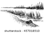 black and white vector... | Shutterstock .eps vector #457018510