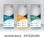 roll up banner stand template... | Shutterstock .eps vector #457020184