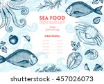 vintage sea food frame vector... | Shutterstock .eps vector #457026073