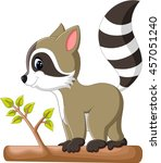cute raccoon cartoon | Shutterstock .eps vector #457051240