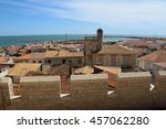Small photo of LES SAINTES-MARIES -DE-LA-MER, FRANCE â?? JUNE 18, 2016 : BEAUTIFUL SEASCAPE FROM THE ROOF OF THE CHURCH. THE TOWN, LOCATED BY THE MEDITERANEAN SEA, WELCOMES EACH YEAR A FAMOUS GYPSY PiLGRIMAGE