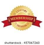 membership seal with red curved ... | Shutterstock .eps vector #457067260