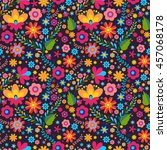 mexican seamless floral ... | Shutterstock .eps vector #457068178