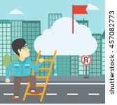 an asian young businessman... | Shutterstock .eps vector #457082773