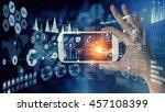 media user interface . mixed... | Shutterstock . vector #457108399