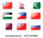 glossy flags. set four of flags ... | Shutterstock . vector #45710980