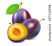 two whole ripe plums fruit with ... | Shutterstock .eps vector #457114948