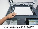 place a paper on the printer... | Shutterstock . vector #457124170