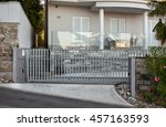 automatic metal gates in front... | Shutterstock . vector #457163593