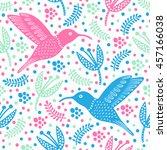 hummingbird seamless pattern.... | Shutterstock .eps vector #457166038