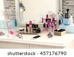 cosmetic set on light dressing...   Shutterstock . vector #457176790