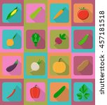 vegetables flat icons with the... | Shutterstock . vector #457181518