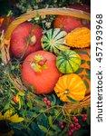 Colorful Pumpkins In Basket ...