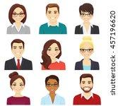 set of smiling men and women in ... | Shutterstock .eps vector #457196620
