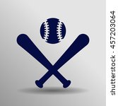 blue baseball icon button logo...