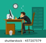 exhausted tired bored employee... | Shutterstock .eps vector #457207579