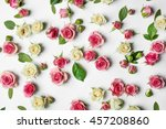 Stock photo assorted roses heads on white background 457208860