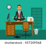 exhausted employee meditating... | Shutterstock .eps vector #457209568